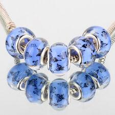 Butterfly 5pcs SILVER MURANO bead LAMPWORK For European Charm fabric Bracelet