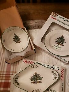 3 Spode Christmas Tree Dishes: Revere Bowl, Pickle Dish, Joy to the World Plate