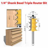 """1/4"""" Shank Triple Bead Column Face Molding Router Bit Holzfräser Oberfräser"""