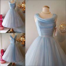 Cinderella Blue Tea Length Cocktail Prom Evening Bridesmaid Formal Wedding Dress
