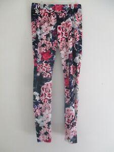 Hue Size M Velour Leggings Pants Floral Colorful