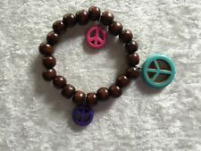 Natural Wood Beaded Peace Sign Stretch Charm Bracelet