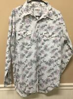 vtg Ranching Out by Michael Barry Floral Western Rodeo Shirt Pearl Snap Sz XL 17