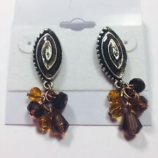 CHICO'S VINTAGE EARRINGS ~ NEW OLD STOCK BRONZE & FAUX AMBER CLUSTER BEADS ~