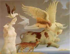 Michael Parkes EUROPA nude woman winged bull cheetah surreal fantasy art print