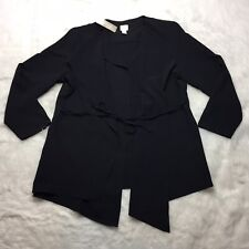 Chicos Drape Tie-Front Womens Jacket Chicos Size 2 Large Black NWT A11G