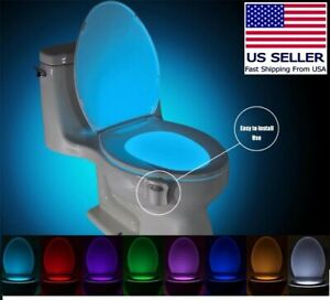 Motion Activated Bathroom restroom Toilet bowl seat Commode 8 Color Night Light