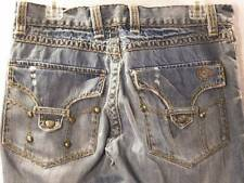 Cain Abel 31 x 29 Fashion Distressed Blue Jeans Flap Pocket Destroyed