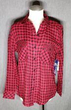 Seven 7 Woman's Austin Red Plaid Long Sleeve Button Down Shirt Tunic Cotton S
