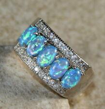 SILVER Elegant Blue Fire Opal 5 Stone Ring Size 8 WR41105