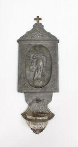 Antik Weihwasserkessel Weihwasserbecken Zinn Glas Madonna Immaculata Biedermeier