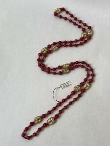 Vintage Czech Pink Pressed Glass Scarab Flapper Bead Necklace 1920s