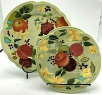 """RARE! Tracy Porter FRUITFUL TAPESTRY Lot 2 Plates 11"""" Dinner & 9"""" Salad Plate"""