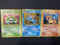 Pokemon Card Old Back Side Charizard / Blastoise / Venusaur 3set