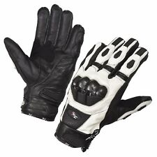 White Motorcycle Gloves Moto Racing Gloves Knight Leather Ride Motorbike