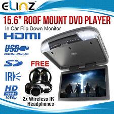 "15"" DVD player Roof mount HDMI In Car Flip Down Monitor 32 Bit Games MP5 12v/24v"