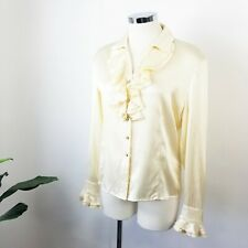 St John Ivory Stretch-Cream Silk Ruffle Detail Button Front Blouse Top Size 4