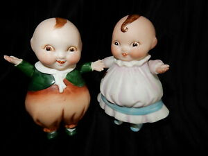 CHARMING Antique All Bisque Pair of Happifats