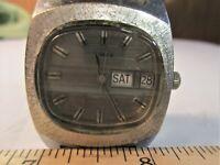 Vtg.  TIMEX  Silver Tone manual wind  Rectangular Men's Watch runs & looks A+