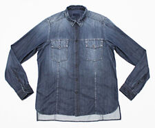 $626 LANVIN PARIS Distressed Faded Denim Utility Pocket Military Shirt 40 Large