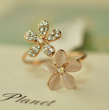 Womens Crystal Double Daisy Flower Petals Finger Ring Adjustable Rhinestone Ring