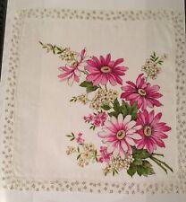 "Vintage Pink Floral Flowers Cotton Handkerchief Hankie 13"" Added Border"