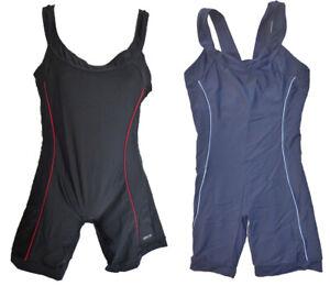 Badeanzug Schwimmanzug mit Bein Schwarz Rot Blau Gr. 36