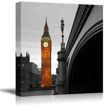 London with a Pop of Color on the Big Ben - Canvas Art Home Decor - 16x16 inches