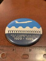 Wold Chamberlain Field 60 Years Of Aviation 1929-1989 Vintage Airplane Pin