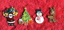 BULK 4pk 100 Embroidery Iron on Christmas Patch Set Santa Present Snowman Tree