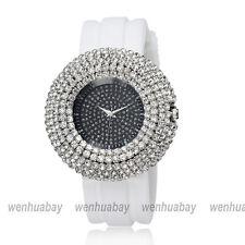 Bling Crystal Case Dial Fashion Womens' Girl Rubber Band Quartz Hour Wrist Watch