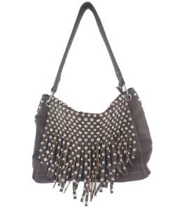 Womens Studded Fringe Faux Leather Handbag Purse Full Zip Embellished Brown