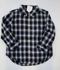 NWT Ralph Lauren Infant Boys LS White Navy Plaid Cotton Poplin Shirt Sz 24m NEW
