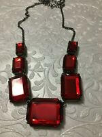 """Retro Marks & Spencer Necklace M&S Mirror Back Scarlet Red Cabochons Lucite 18"""""""