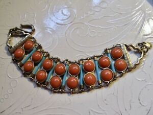 Lucky Brand Brass Tone Coral Simulated Stone & XL Turquoise Bugle Bead Bracelet