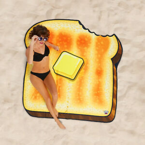 GIGANTIC BUTTERED TOAST BEACH BLANKET 5 Foot Pool Day Party Gag Gift BMBT-0015