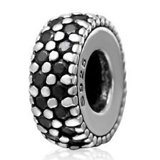 .925 Sterling Silver CZ Stone Spacer Charm Bead Fit European Bracelet S3443