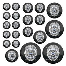 21 Premium Domed Round 3M Decal Sticker Set - POLICE BADGE BLUE LINE - 077