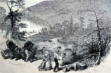 Bald Mountain North Carolina 1874 Scene of EARTHQUAKE and VOLCANO Matted Print