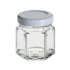 MINI HEXAGONAL GLASS JARS 45ML WHITE LIDS-WEDDING LOLLY JAM HONEY NUTS SPICES