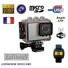 Camera sport WiFi Full HD 1080P étanche boitier waterproof argent