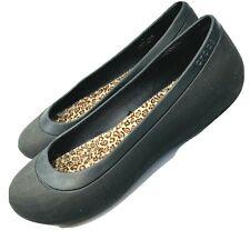 Crocs Mammoth Womens Sz 11 Dark Brown Leopard Faux Fur Lined Ballet Flats Shoes