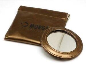 Morgan Metallic Bronze Round Pocket Compact Travel Handbag Makeup Mirror & Pouch