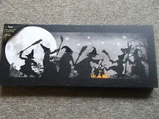 Battery Operated Lighted Canvas Print  Halloween  Witches Dance 22 x 9 inches