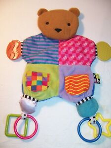 Kids Preferred Amazing Baby Blanket Teether Bear Colorful Plush Activity Toy EX
