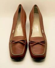 SALVATORE FERRAGAMO Camel Tan Leather Classic Low Heel Loafer Pump 10 2A Itlay