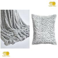 Silver Wolf Throw Neutral Faux Fur Soft Luxury Throw Blanket / Cushion Cover New
