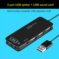 1*USB 2.0 HUB External 7.1 Channel Audio Sound Card Adapter For PC Laptop