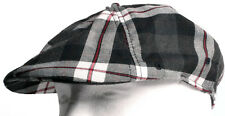 New Kangol Plaid 504 White, Dark Grey & Red Tartan Cap Hat Size Large / X-Large