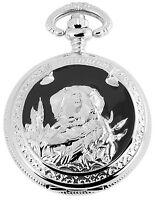 Hunde Taschenuhr Weiß Schwarz Silber Metall Hund Analog Quarz D-480822000080500